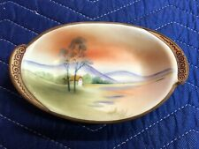 Antique Nippon Hand Painted Scenic Bowl With Handles