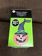 New Halloween 3 1/2' Gemmy Pumpkin Wearing a Witches Hat Airblown/Inflatable