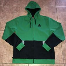 Burton Snowboards Mens Green Black Gray Full Zip Hoodie 23 Inch Armpit