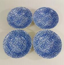 4 Churchill Honeysuckle Blue Pattern Cereal or Dessert Bowls Blue and White 15cm