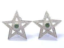 18Kt Mehrfarbig Diamant Weiß Gold Stern Ohrringe 3.2cm 2.35Ct