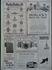 1915 ADVERTS SEND HIM HORLICK'S TABLETS, LUMINOUS WATCH, MILITARY BROOCH WW1 WWI