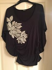 Jane Norman Blue Beaded Glitter Size 10 Top - Excellent Condition