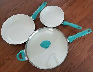 """Set 4 GreenPan Rio Terquoise Healthy Ceramic Nonstick Saute Fry Pans Lid 5qt 12"""""""