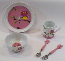 Set Pappa piatto bicchiere ciotola posate disegno civetta in porcellana silicone