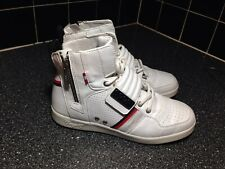 Coogi White leather zipper high top shoes Size 6
