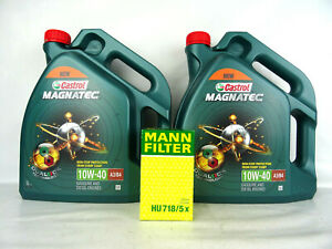Castrol 10W40 Magnatec 10W-40 A3/B4 + MANN  HU718/5x Ölfilter Ölwechsel 10Liter