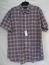 Cremieux Size XL Extra Large Teal Plaid Button-Front New Mens Shirt