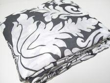 Pottery Barn Belgian Flax Linen Damask Floral Gray Full Queen Duvet Cover Shams