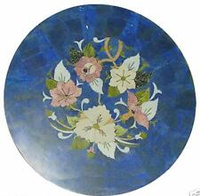 2' round blue lapis marble table top dining coffee center inlay malachite a4