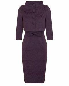 LINDY BOP Maybelle Dress & Jacket Set - Plum Brocade - UK 22 - NWT - '50's Style