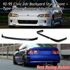 BYS Style Front Lip + TR Style Rear Bumper Lip (Urethane) Fits 92-95 Civic 2dr