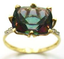GREAT 10KT YELLOW GOLD CUSHION CUT MYSTIC TOPAZ & DIAMOND RING SIZE 7   R1429