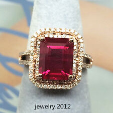 Estate 8*10mm Emerald Cut Ruby Good Diamond Gorgeous Ring In 14k Solid Rose Gold