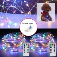 2X 50LED 17FT String Lights USB Powered Multi Color Fairy Lights w/ Remote&Timer