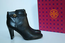 New Tory Burch Bristol Black Leather Logo Ankle Riding Short Boot Shoes 10