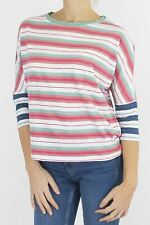 Womens White Stuff Striped T-Shirt Dolman Red Long Sleeve Contrast Sleeve Top