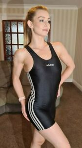 Shiny Black White Swimsuit Adidas Lycra Spandex Unitard Kneeskin XS UK 6 30""
