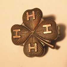 4H Gold Tone Four Leaf Clover Vintage Lapel Pin right hand gift