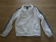 Adidas Herren Jacke Gr. M Sportjacke Fitnessjacke Tennisjacke weiß schwarz