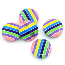 10 Stripey Multi coloured resin plastic Buttons 14.5mm Good Quality Sewing