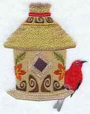 Tiki Birdhouse W/ Apagane Set Of 2 Bath Hand Towels Embroidered By Laura