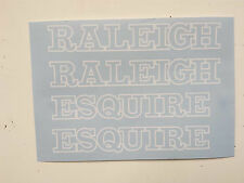 """Raleigh """"ESQUIRE"""" bike decal/stickers, set of 4 (White Outline Style)"""