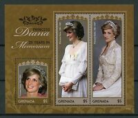 Grenada 2017 MNH Princess Diana 20th Memorial Anniv 3v M/S I Royalty Stamps