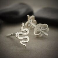 Sterling Silver .925 Tiny Simple Snake Serpent Post Earrings Studs - Women Gift