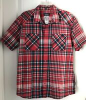 Patagonia Mens Size Large  Short Sleeve Shirt Plaid Red  Organic Cotton.