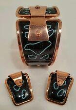 American copper Art Jewellery enamelled bangle & Earrings. Matisse Renoir. C1950