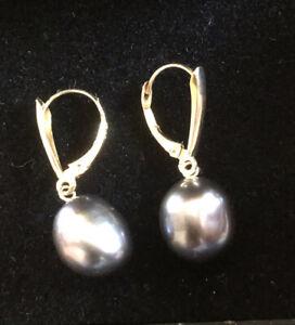 14ct Yellow Gold Pearl Drop Earrings  585