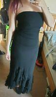 Wallis Black Long Evening Dress Strapless Cocktail Ruffle Prom Size 12