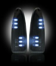 1999-2007 Ford Super Duty F250 F350 Smoked Side Mirror Lenses - White LED Lights
