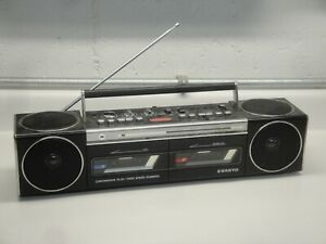 Vtg Sanyo M W800 Radio Dual Cassette Stereo Boombox w/ Cord Tested/Works READ!!