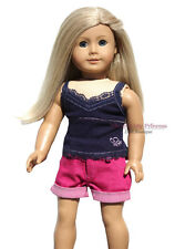 RIBBED BLUE TOP + HOT PINK SHORTS made for 18 inch American Girl Doll clothes