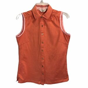 Clover by Bobby Jones Golf Women's Sleeveless Collared Gold Button Top Size MED
