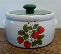 Vintage McCoy casserole dish with lid, Strawberry design