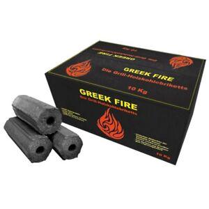 (1kg €2,70) Greek Fire - Premium Holzkohlebriketts 10kg Box