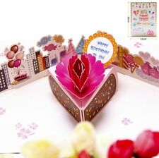 3D Pop Up Card Happy Birthday To You Flower Greeting Lovers Party Hot Cards