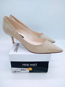 NINE WEST Women's Arlene Classic Dress Pump Sand Glitter Fabric US 7.5M
