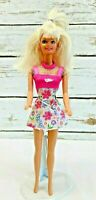 "MATTEL BARBIE Doll Blonde Hair Blue Eyes Floral Dress 12"" Tall Used Free Ship"