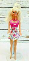 "MATTEL BARBIE Doll Blonde Hair Blue Eyes Floral Dress 12"" Tall Used Free Ship"