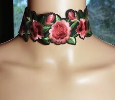 Choker or Anklet Large Embroidered Flowers Dusky Pinks & Green Australia Made