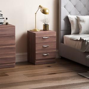 Riano Walnut 3 Drawer Wood Chest Metal Handles Bedroom Storage Furniture