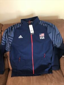 Adidas Usa National Team Volleyball  Blue Jacket NWT Size XL  Mens