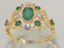 Natural Emerald Yellow Gold Oval Fine Gemstone Rings