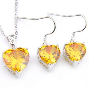 Love Heart 2 pcs Natural Golden Citrine Gems Silver Necklace Pendant Earrings