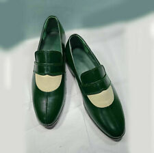 Men's Handmade Genuine Green & Gray Leather Luxury Moccasins Formal Slip On Shoe