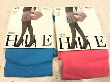 2 NEW Women's Hue Opaque Tights Ocean Rose & Blue Jay Size 1